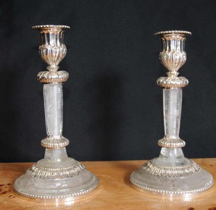 Paire Empire Bougeoirs Cristal de Roche Plate Argent