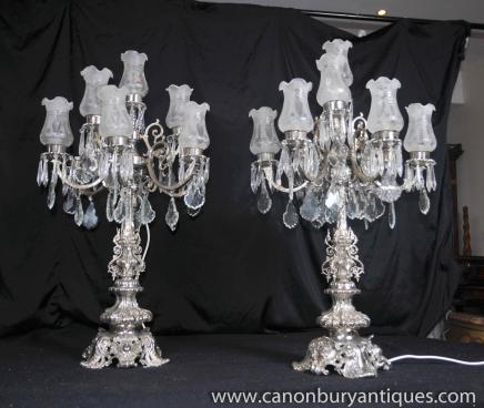 Paire Empire Silver Plate Tables Lampes Chandeliers