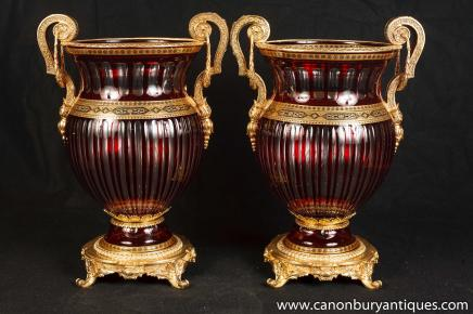 Paire Empire français Campana Urnes Verre en cristal Louis XV doré au mercure