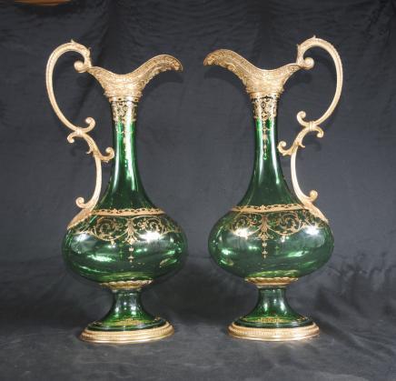 Paire Empire verre cruches Ewers Vases