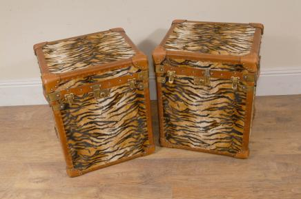 Paire Funky Cheetah Box Imprimer Bagages Trunks