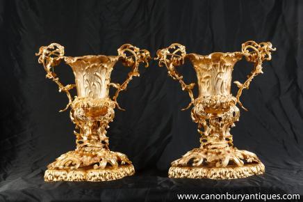 Paire Louis XV doré au mercure Vases Urnes Rococo Trophy