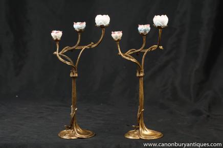 Paire Ormolu Art Nouveau floral incrusté Chandeliers Bougeoirs Bougie