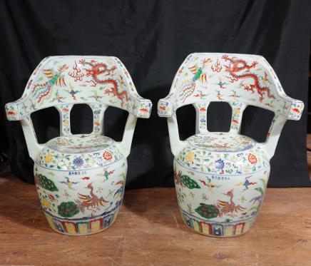 Paire Qianlong porcelaine chinoise Chaises Sièges Poterie Céramique