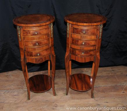 Paire Regency chevet Commode tiroirs de chevet Noyer Meubles