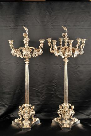 Paire Silver Plate George II Candélabres