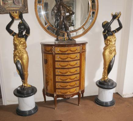 Paire XL français Bronze Femme Figurines Statues nègres architectural Milo Signé