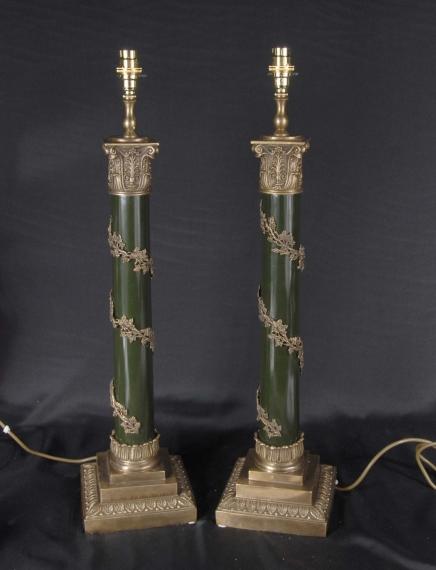 Paire anglais Regency pieds de lampe de la colonne de table Lampe Lumière