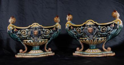 Paire anglais majoliques Poterie Pots urnes en porcelaine