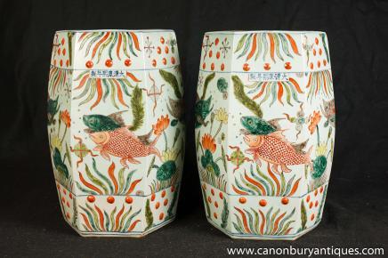 Paire chinois Qianlong Porcelaine Sièges Tabourets Vases Poterie