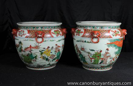 Paire chinois Qianlong Poterie Pots Porcelaine Urnes