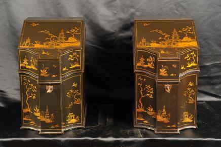 Paire chinois laque Boîte à bijoux