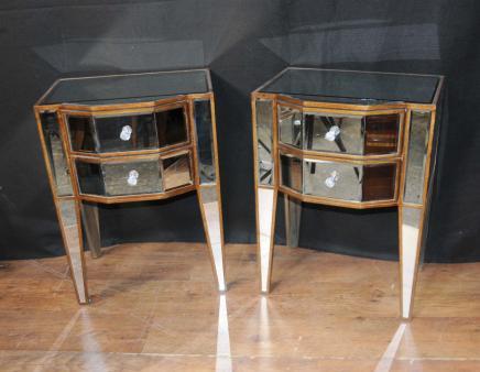 Paire déco Miroir de chevet Tables de chevet Commodes Armoires miroir