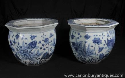 Paire de Nankin Les planteurs de poterie Bols Bleu chinois en porcelaine blanche