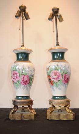 Paire de porcelaine de Sèvres table Lampes