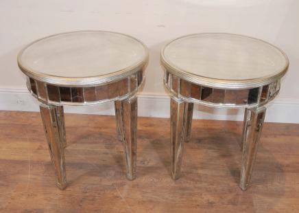 Paire en miroir Deco Side Tables Cocktail