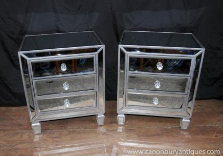 Paire en miroir de chevet commodes tables de chevet for Table de chevet miroir