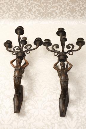 Paire français Bronze Empire Appliques Lampes Appliques
