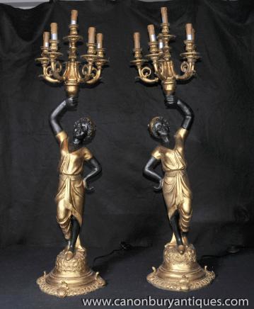 Paire italienne Nègre Chandeliers Figurines Statues sculptées Maures