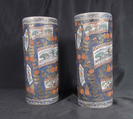 Paire japonais Imari Ware porcelaine Umbrella Tapis Vases Urnes