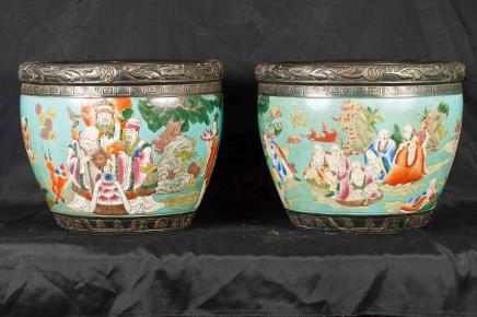 Paire japonaise Famile Jaune porcelaine Pots Jardinier Pots Bols