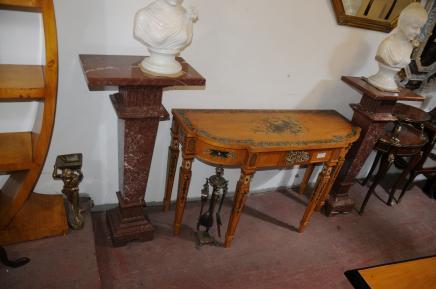 Paire marbre italien piédestal colonne Tables Supports décoratifs
