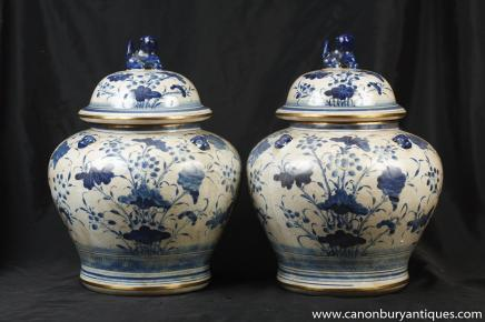 Paire porcelaine bleue et blanche à couvercle Urnes Kangxi poterie chinoise
