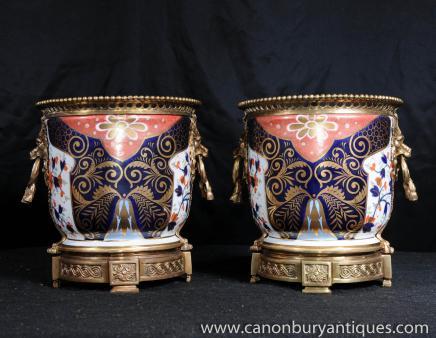 Paire porcelaine de Sèvres Cache Pots Pots Urnes Floral Urne