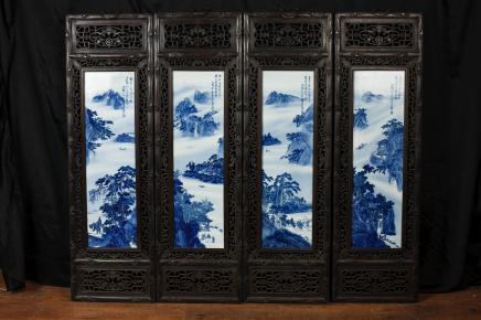 Peint 4 Nankin Porcelaine chinoise Plaques Écrans Peintures à la main