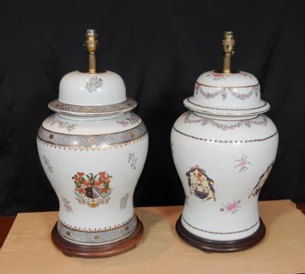 Peint paire française Porcelain Table Lampes à main