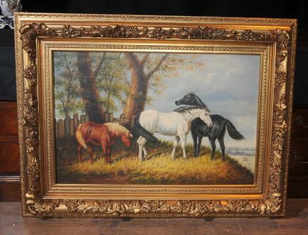 Peinture à l'huile Chevaux anglais victorien Art cadre doré