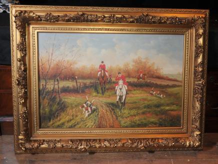Peinture à l'huile Fox Scène de chasse Chasse Cheval Art victorien Signé