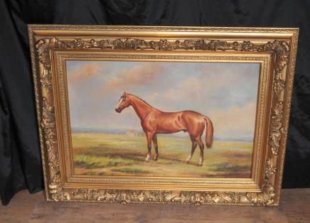 Peinture à l'huile Français Cheval pastorale Paysage cadre doré
