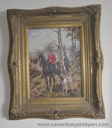 Peinture à l'huile Français Hussar Soldat à cheval Portrait cadre doré