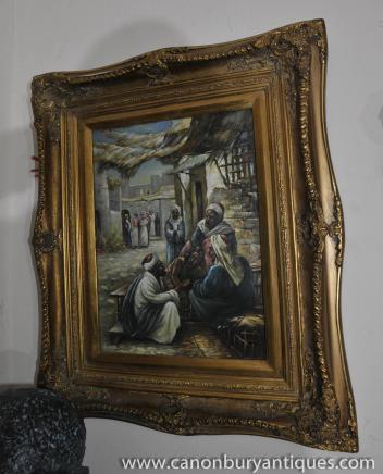 Peinture à l'huile Portrait français arabe du Nord Souk africaine
