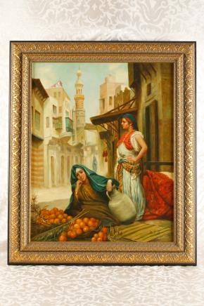 Peinture à l'huile allemand arabe Casbah Femme Portrait Porcelaine Plaque KPM