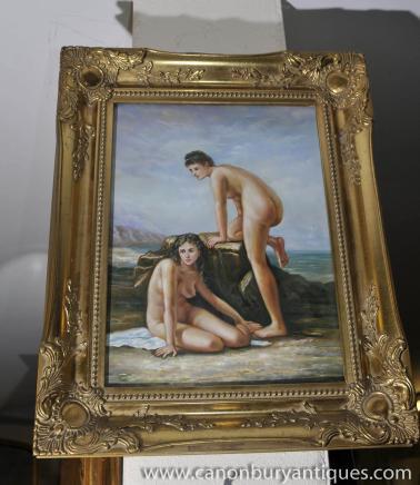 Peinture à l'huile italienne Paire Femme nue Portraits cadre doré