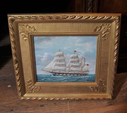 Peinture à l'huile victorienne Clipper Yacht Seascape cadre doré Art