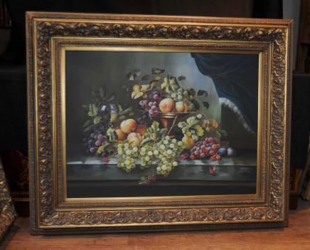 Peinture à l'huile victorienne Floral Still Cadre Fleurs Vie doré