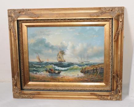 Peinture à l'huile victorienne Maritime Beach Seascape Scène cadre doré