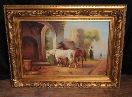 Peinture à l'huile victorienne signé Cheval équestre Scène cadre doré