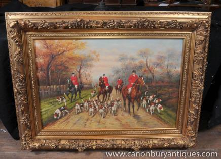 Peinture anglais Fox Scène de chasse Huile Signé G Roy
