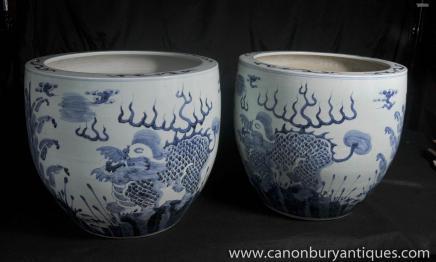 Porcelaine bleue et blanche Planters dragon Bols Nankin Poterie