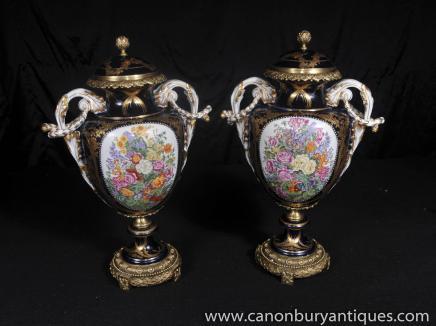 Porcelaine de Sèvres Floral Vases Poterie français Urnes Vase