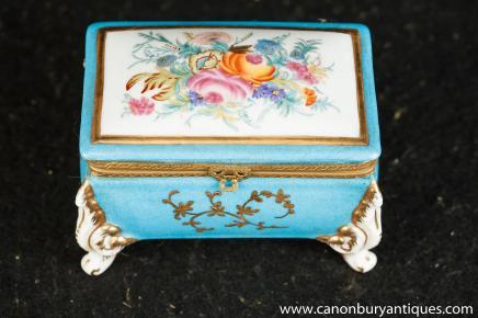 Pulvérisation Meissen Bijoux Coffret Boîte allemand Porcelaine Floral