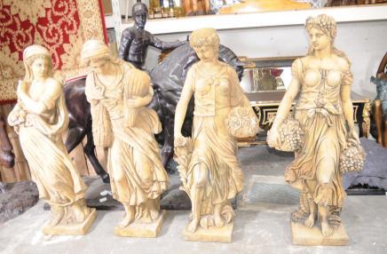 Réglez les figures sculptées dans la pierre 4 Saisons Lifesize italien main