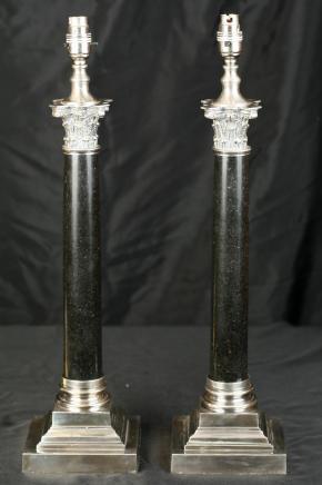 Regency Argent tableau de plaque Lampes colonne