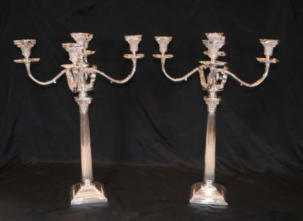 Regency plaques de candélabres en argent doriques Bougies de colonne