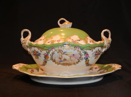 Sèvres Paris Porcelaine Chérubin Soupière Dish Plate