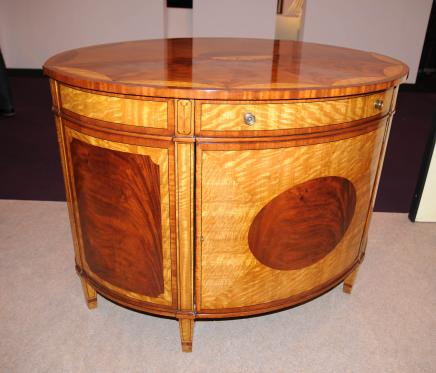 Satinwood Regency Cabinet Half Round Marqueterie Inlay Buffet